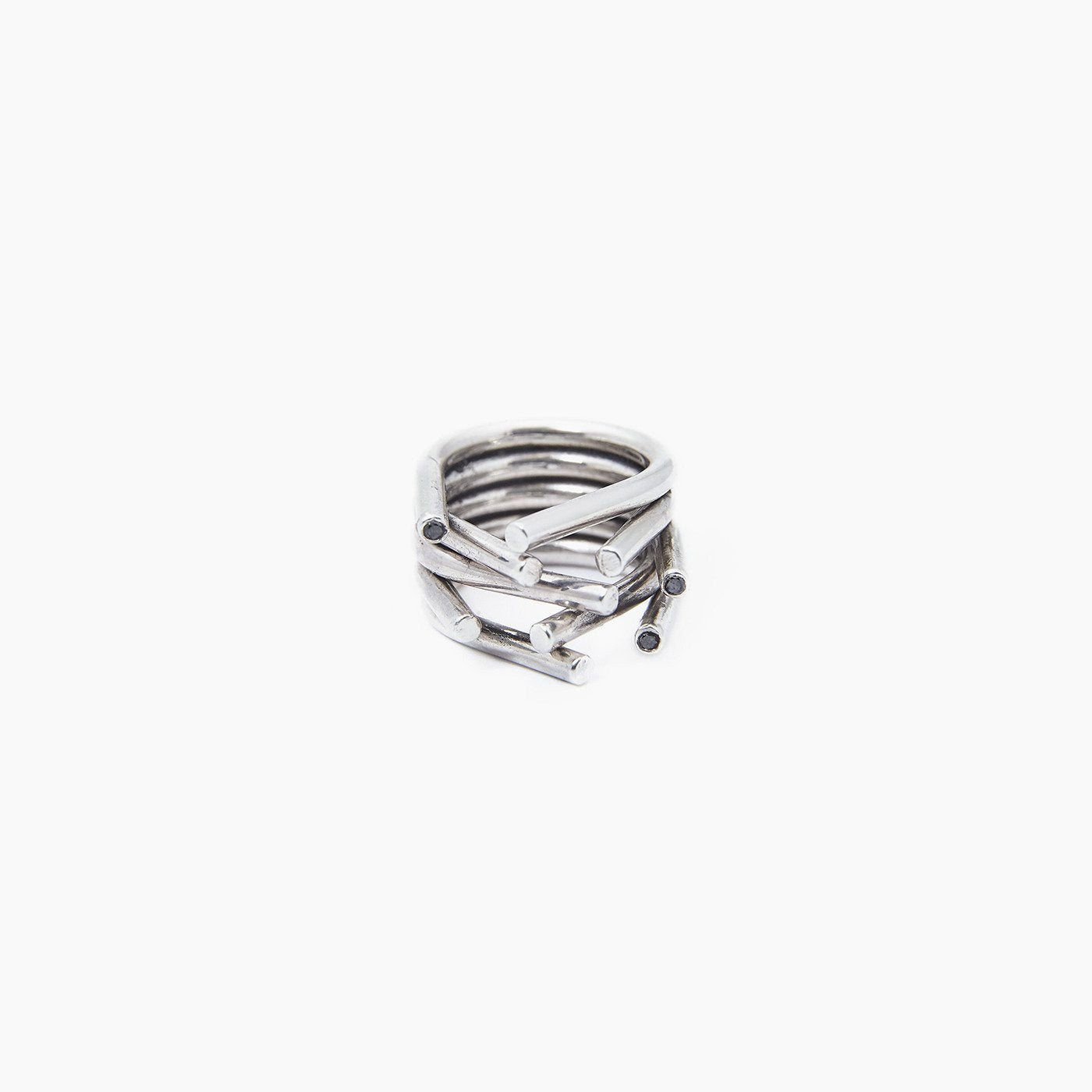ring chaotic silver black diamond product view innan jewellery