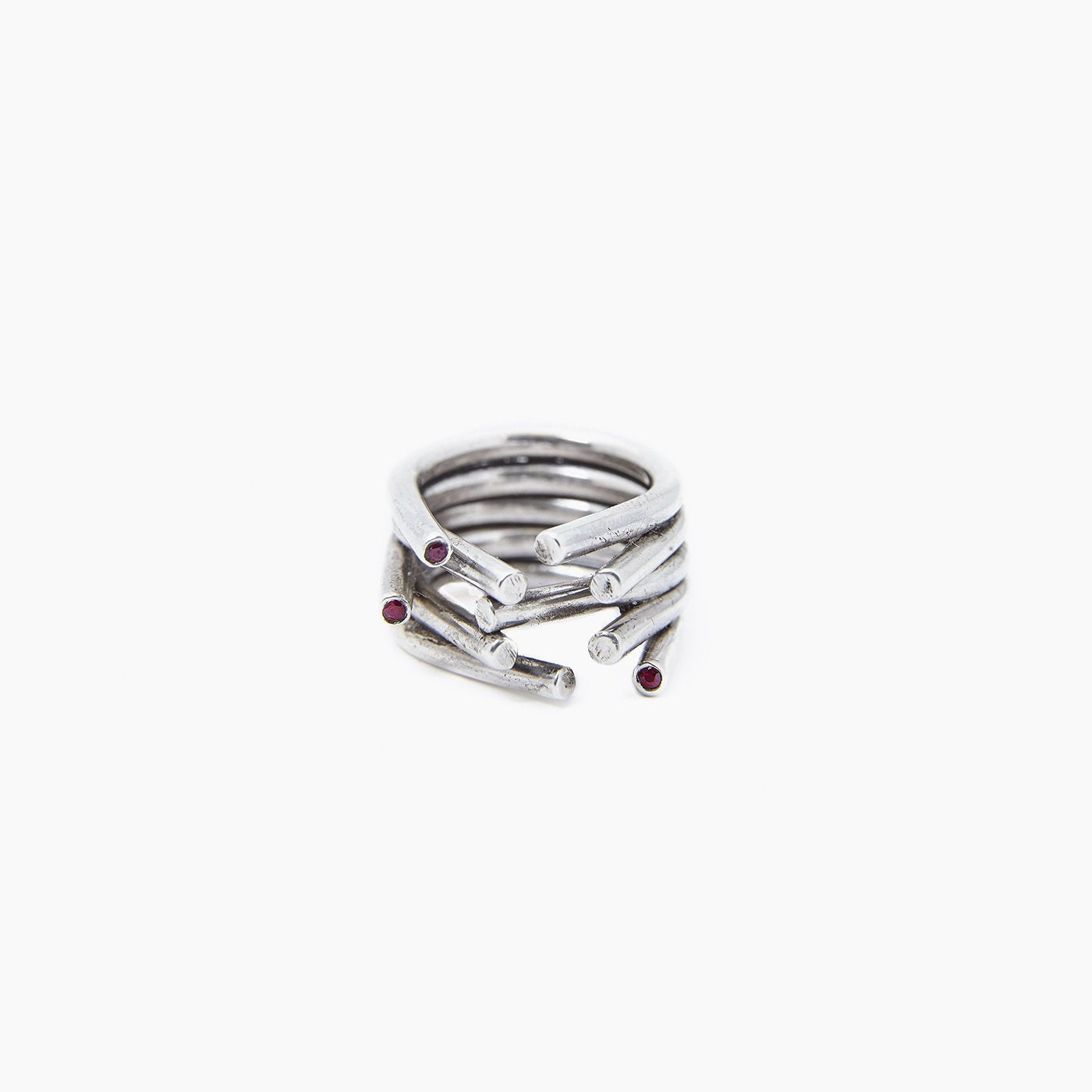 ring chaotic silver red ruby product view innan jewellery