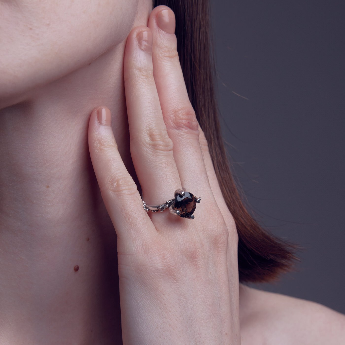 ring petite stardust silver smoky quartz product view innan jewellery