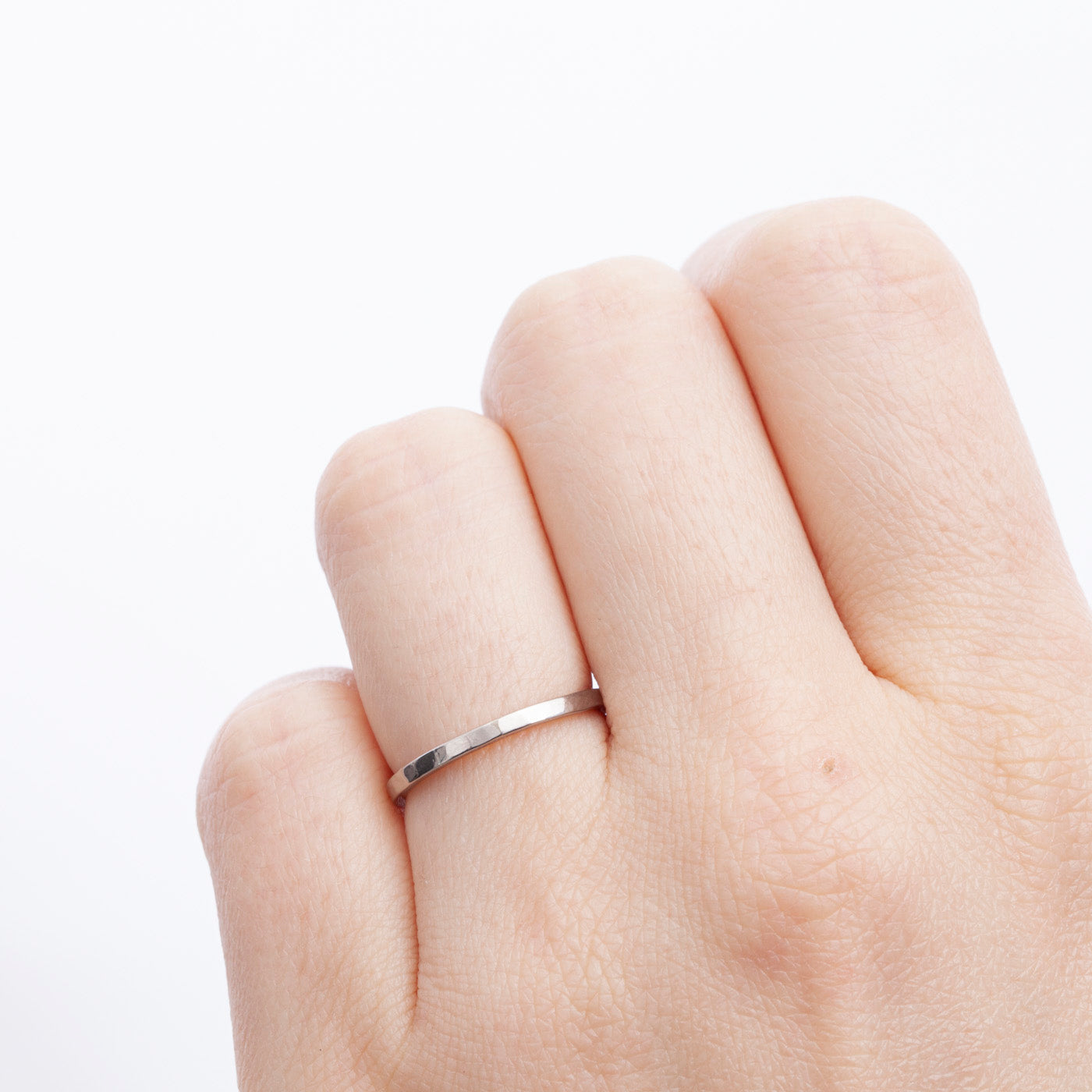 wedding ring freya white gold narrow hammered product view innan jewellery