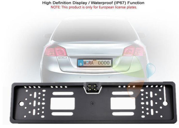 European License Plates Frame Camera Waterproof HD Rear View ...