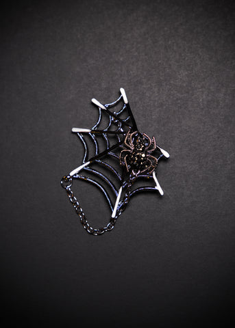 Spiderweb Brooch in Black / Silver