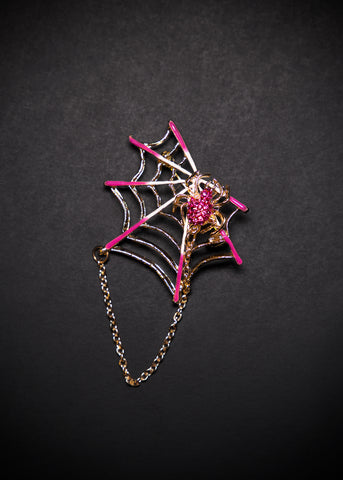 Final Sale - Spiderweb Brooch in Pink / Gold