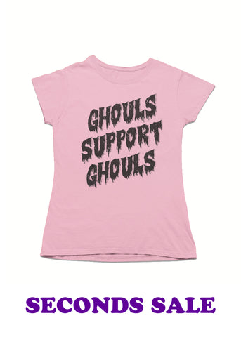 FINAL SALE - Sample Ghouls Support Ghouls Ladies Pink T-Shirt