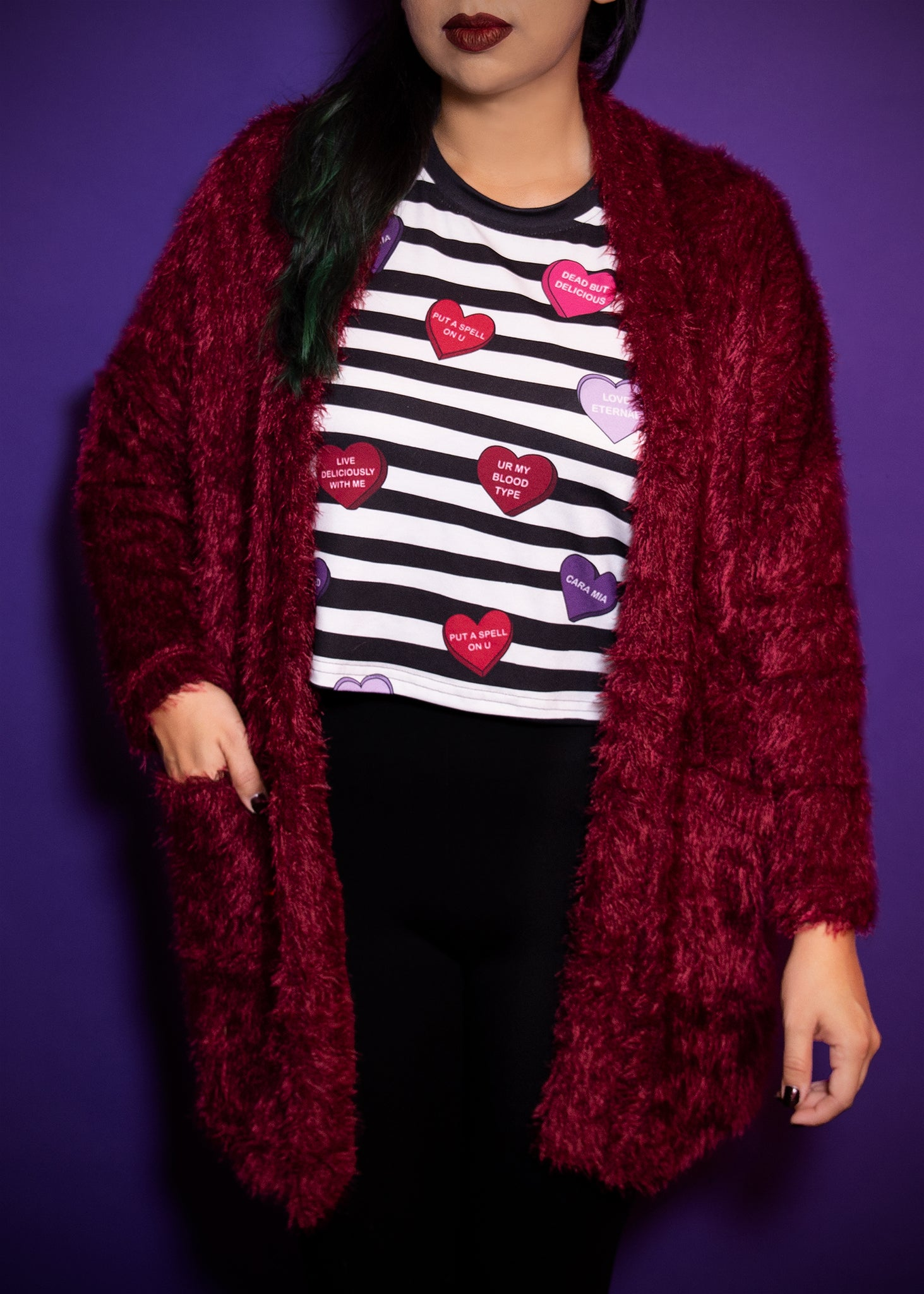 Monster Cardigan in Blood Red