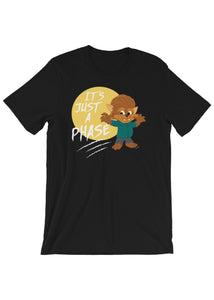 Unisex Just a Phase Wolfie T-Shirt in Black