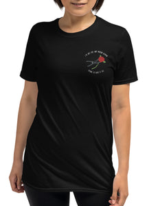 """Modern Woman"" Embroidered Unisex Black T-Shirt"