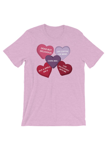 Spooky Conversation Hearts Unisex T-Shirt in Lilac