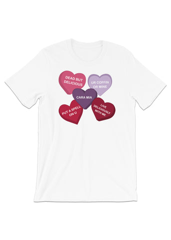 Spooky Conversation Hearts Unisex T-Shirt in White