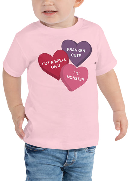 Toddler Spooky Conversation Hearts T-Shirt in Pink
