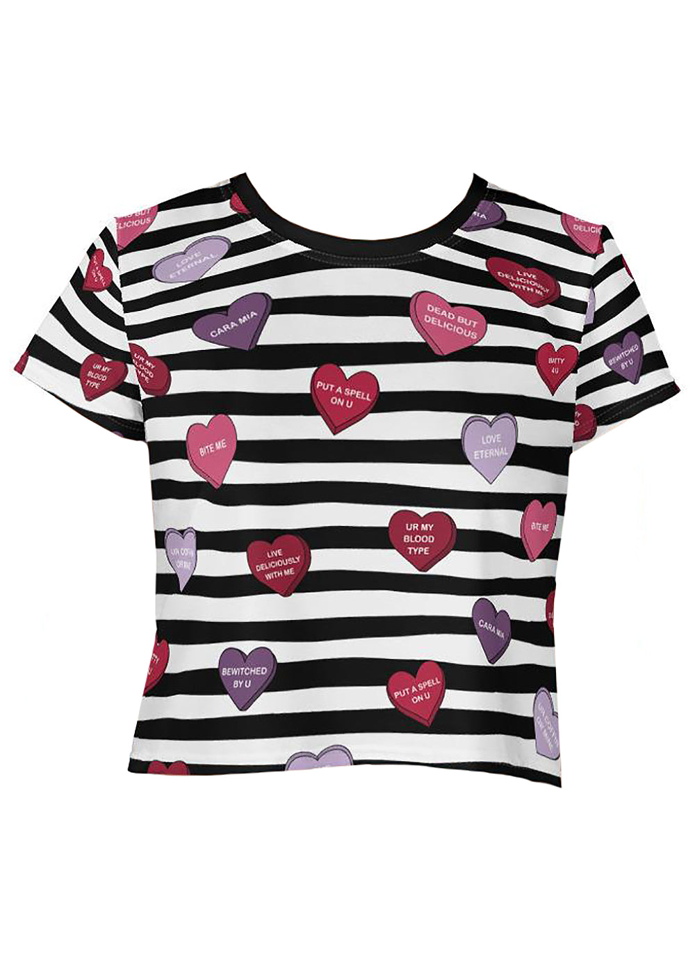 Spooky Conversation Hearts Graphic Crop Top