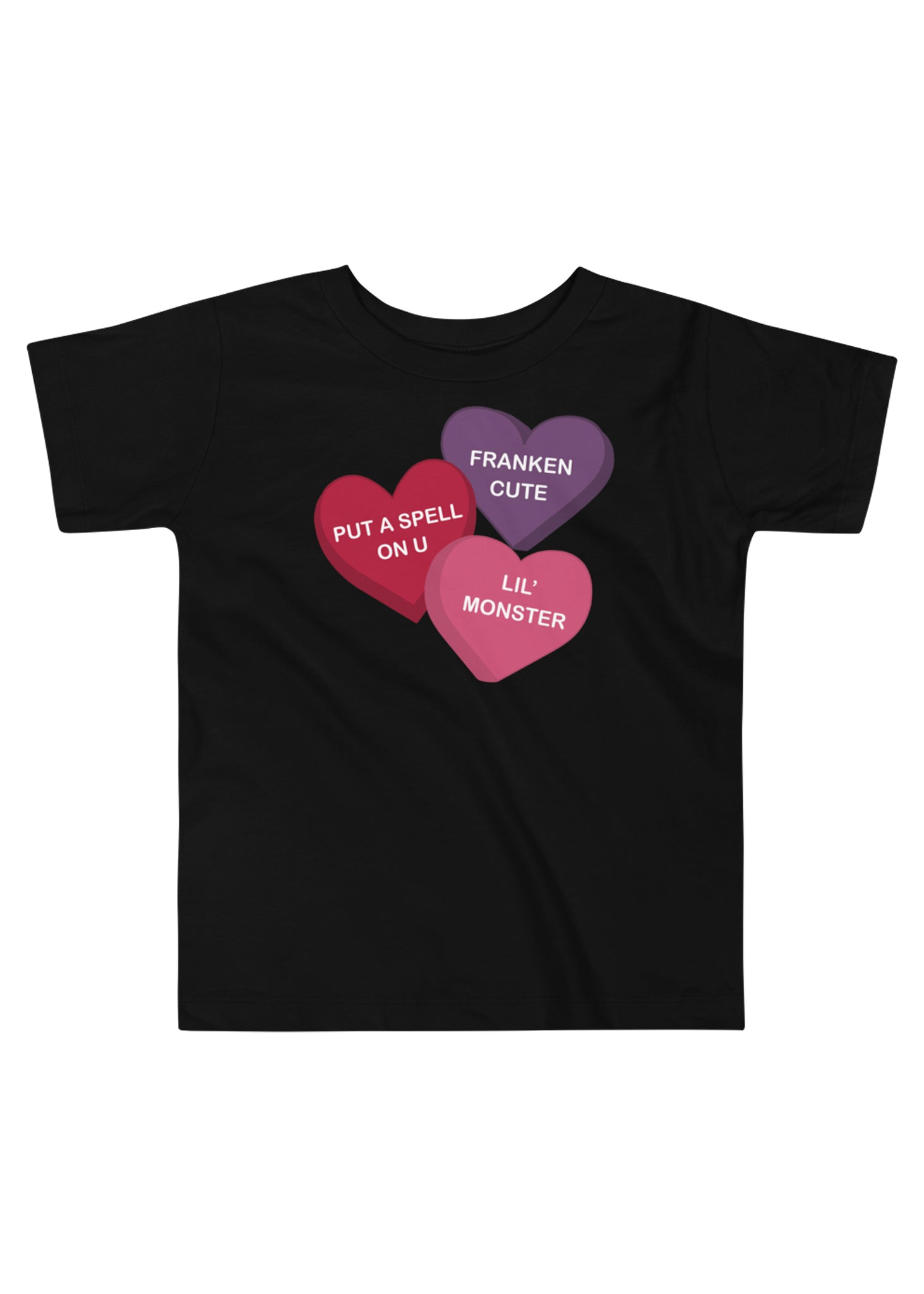 Toddler Spooky Conversation Hearts T-Shirt in Black