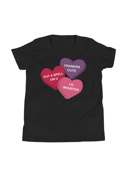 Youth Spooky Conversation Hearts T-Shirt in Black
