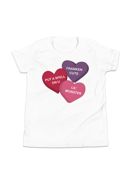 Youth Spooky Conversation Hearts T-Shirt in White