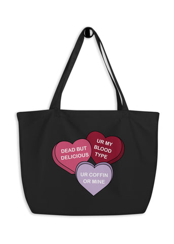 Spooky Conversation Hearts Oversized Tote Bag