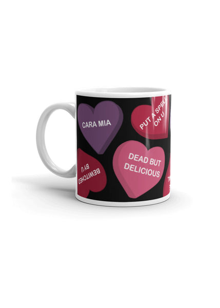 Spooky Conversation Hearts Coffee Mug in Black