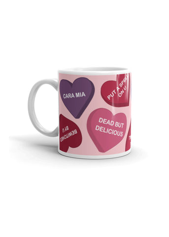 Spooky Conversation Hearts Coffee Mug in Pink
