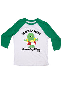 Youth Swimming Class Raglan Baseball Tee