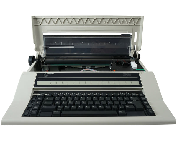Nakajima AE-710 Automatic Electronic Typewriter Front View with Top Cover Open