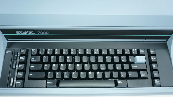 Close-up of Keyboard of Brand New Swintec 7000 Heavy Duty Electronic Typewriter