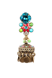 """Shangri La"" Enamel Star Flower with Large Jhumka Drops in the ""RTQG"" color combination"