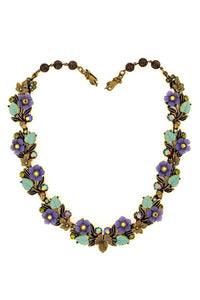 "The ""Purple Haze"" Flowers and Leaves Pewter Statement Necklace"