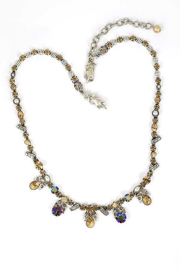 Classic Stone Pewter Necklace set in Antique Silver accented with Semi-Precious Cabochons and Swarovski Crystals