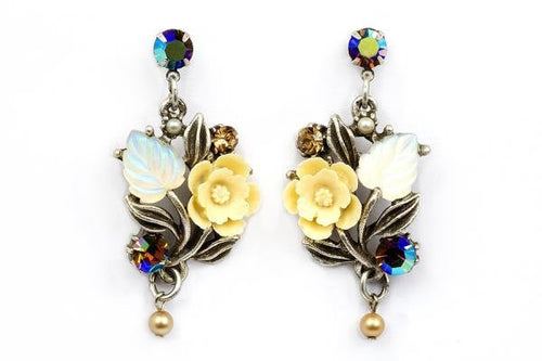Right and Left Flower and Leaf Post Earrings