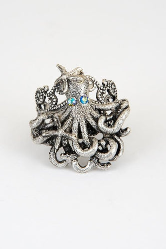 Octopus and Starfish Pewter Ring