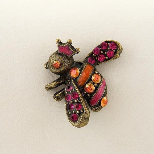 Fuchsia and Chili Pepper Hand Enameled Bee Pin