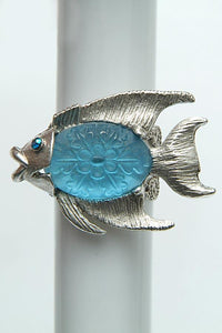 "The ""By the Sea"" Aqua Fish Adjustable Ring"