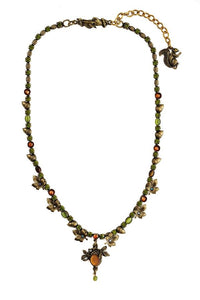 Handmade Leaves and Acorns Necklace in Gold