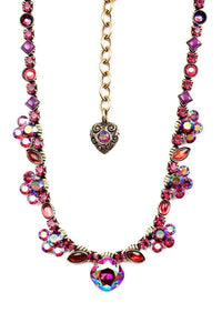 Handmade Classic Pave Necklace in Fuchsia and Amethyst