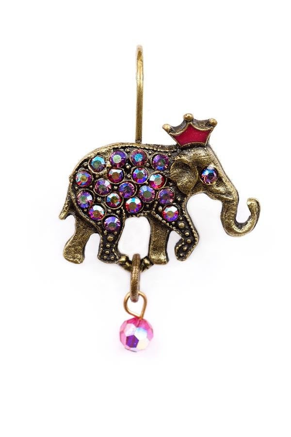 Right and Left Elephant Eurowire Earrings in Fuchsia