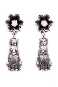 "The ""Hip Hop"" Flower and Bunny Dangle Earrings"