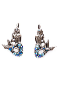 "The ""Under the Sea"" Right and Left Mermaids with Starfish Tail Eurowire Earrings"