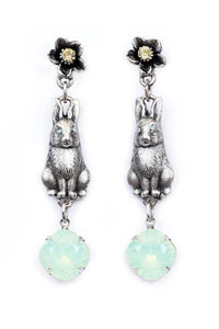 "The ""Hip Hop"" Bunny, Flower, and Chunky Stone Dangle Earrings"