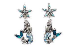 "The ""Under the Sea"" Right and Left Mermaid and Starfish Droplet Earrings"