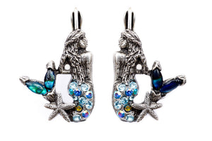 "The ""Under the Sea"" Right and Left Mermaids with Stone Tail Eurowire Earrings"