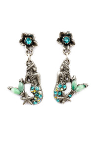 "The ""Under the Sea"" Right and Left Mermaid with Stone Tail and Flower Droplet Earrings"
