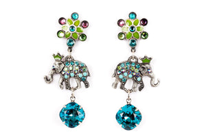 "The ""Rpyals"" Enamel Star and Right and Left Elephant Drop Earrings"