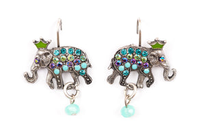 "The ""Royals"" Right and Left Elephant on Eurowire Earrings"