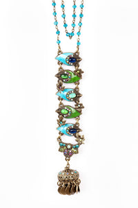 "The ""Proud as a Peacock"" Up and Down Hand-Enameled Feather Necklace on a Beaded Chain"