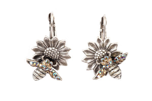 Bee on Sunflower Eurowire Earrings