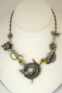 "The ""Garden of Eden"" Asymmetrical Flowers and Serpents Necklace"