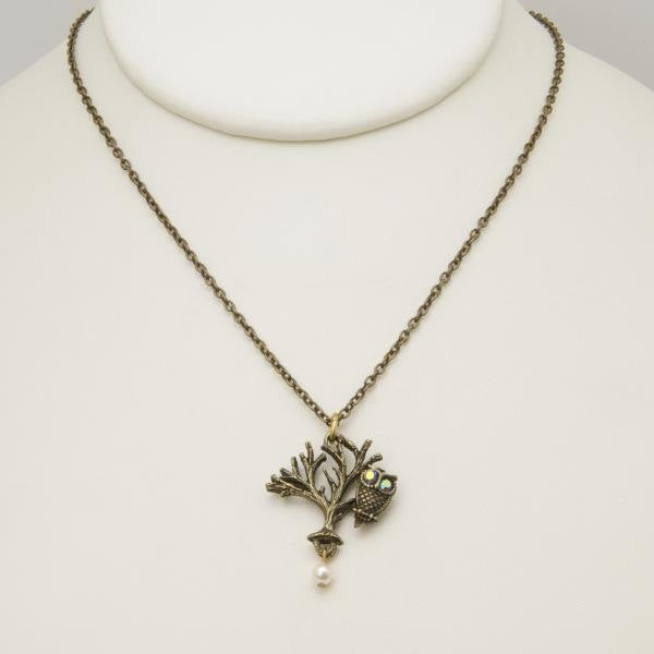 Owl Sitting in a Tree Necklace