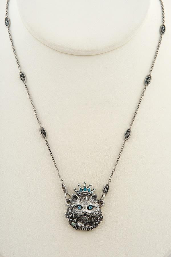Handmade Turquoise and Aqua Cat Pendant Necklace