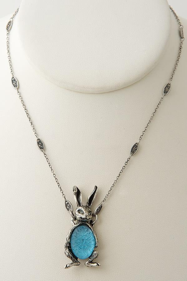 German-Etched Glass Bunny Pendant Necklace