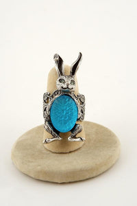 Handmade Aqua German Etched Glass Bunny Ring