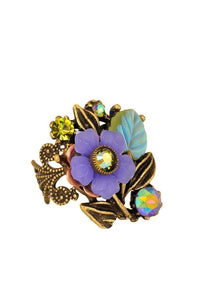 Purple Flower Adjustable Antique Gold Ring